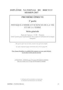 Brevet 2017 série générale : SVT et Physique Chimie