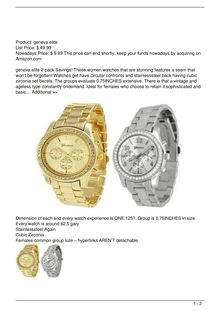 2 PACK Geneva Silver and Gold Plated Classic Round CZ Ladies Boyfriend Watch Watch Review