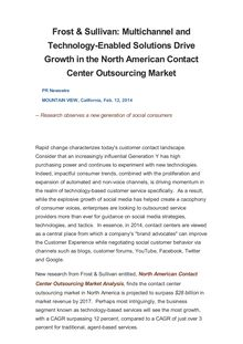 Frost & Sullivan: Multichannel and Technology-Enabled Solutions Drive Growth in the North American Contact Center Outsourcing Market