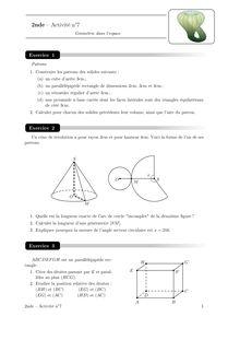 Cours et activités, Géométrie dans l'espace Activité 7