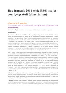 Bac Premiere 2011 S ES Francais Corrige dissertation