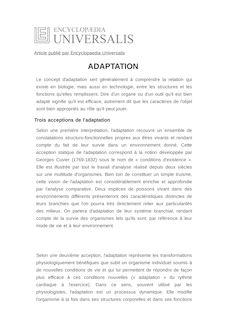 Définition de : ADAPTATION - Armand de RICQLÈS