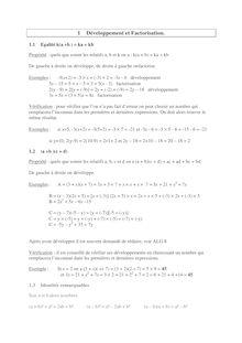 Cours développement et factorisation
