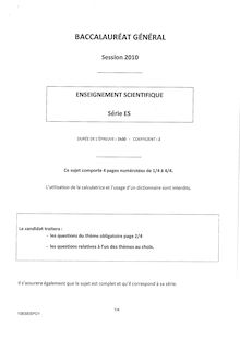 Sujet du bac ES 2010: Enseigement Scientifique