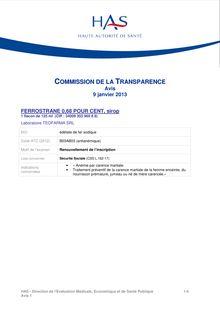 FERROSTRANE - HAS - Medecine - Gratuit - Documents