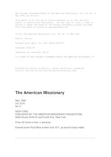 The American Missionary — Volume 44, No. 05, May, 1890