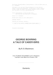 "George Bowring - A Tale Of Cader Idris - From ""Slain By The Doones"" By R. D. Blackmore"