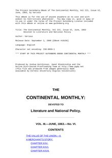 The Continental Monthly, Vol III, Issue VI, June, 1863 - Devoted to Literature and National Policy