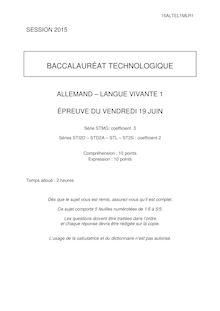 Bac 2015 - Allemand LV1-Techno