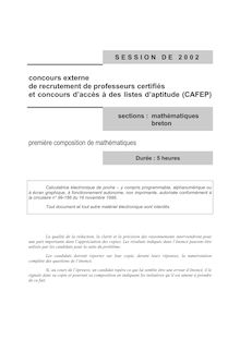 Capesext premiere composition de mathematiques 2002 capes maths capes de mathematiques