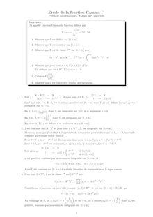 Etude de la fonction Gamma d'Euler