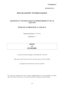 Sujet bac 2014 - Série STMG - Economie et droit