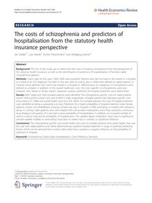 The costs of schizophrenia and predictors of hospitalisation from the statutory health insurance perspective