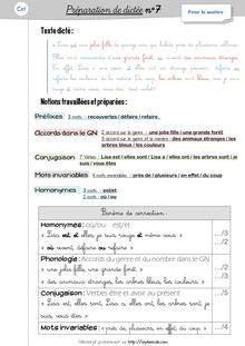 Orthographe / Grammaire / Vocabulaire CE1 – Préparations de dictées et leçons - Préparations de dictées n°7