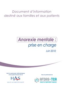 Anorexie mentale :prise en chargeJuin