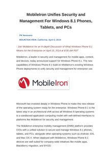 MobileIron Unifies Security and Management For Windows 8.1 Phones, Tablets, and PCs