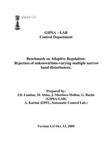 GIPSA – LAB Control Department Benchmark on Adaptive Regulation: