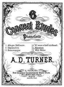 Partition , Maestoso, 6 Concert Etudes, Turner, Alfred Dudley