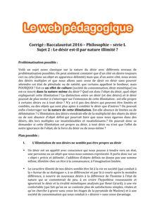 Baccalauréat Philosophie 2016 - Série L - Sujet 2