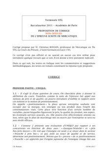 Bac 2011 STG Mercatique Corrige