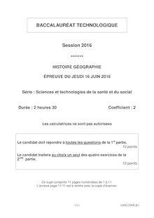 Baccalauréat Histoire-Géographie 2016 - Série ST2S