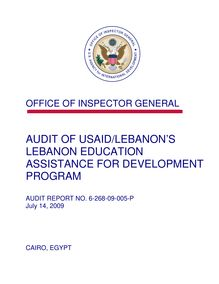 Audit of USAID Lebanon's Lebanon Education Assistance for Development Program