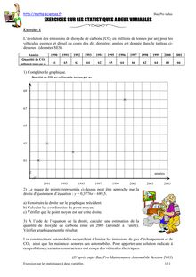 Exercices sur les statistiques deux variables, niveau ...