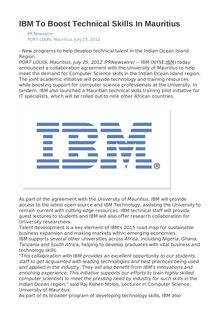 IBM To Boost Technical Skills In Mauritius