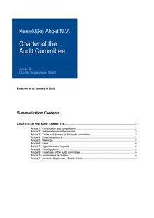 Charter of the Audit Committee - implementation  Frijns 2010