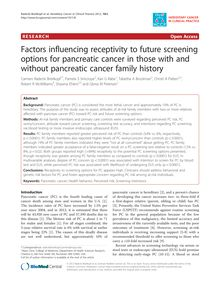 Factors influencing receptivity to future screening options for pancreatic cancer in those with and without pancreatic cancer family history