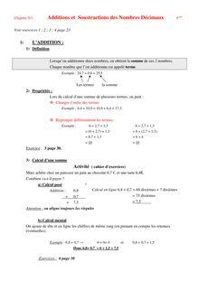 Cours addition et soustraction de nombres décimaux