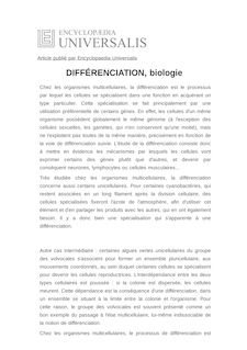Définition de : DIFFÉRENCIATION, biologie - Thomas HEAMS