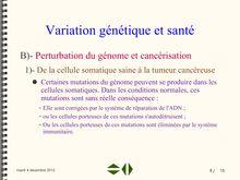 Perturbation du génome et cancérisation - SVT 1ere S