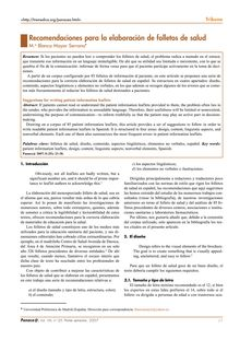 Recomendaciones para la elaboración de folletos de salud (Suggestions for writing patient information leaflets)