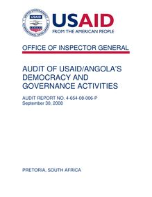 AUDIT OF USAID ANGOLA'S DEMOCRACY AND GOVERNANCE ACTIVITIES
