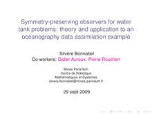 Symmetry preserving observers for water tank problems: theory and application to an