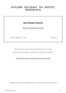 Sujet du Brevet Maths - série Pro - 2018