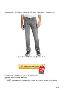 Levi8217s Men8217s 511 Slim Fit Jean Express 3121530 Clothing Review