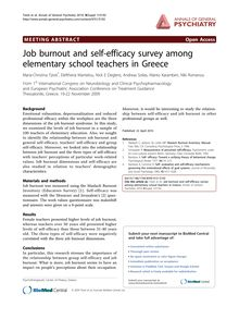 Job burnout and self-efficacy survey among elementary school teachers in Greece