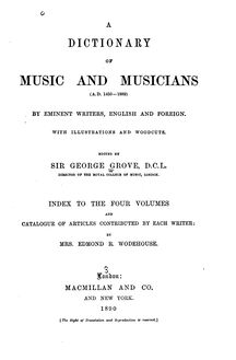Partition Index to Volumes 1 to 4, Dictionary of Music et Musicians