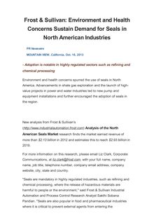 Frost & Sullivan: Environment and Health Concerns Sustain Demand for Seals in North American Industries