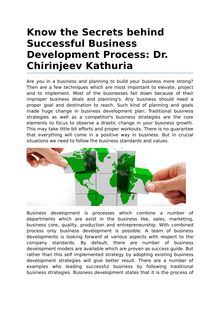 Secrets Behind Successful Business Development Process by Dr. Chirinjeev Kathuria