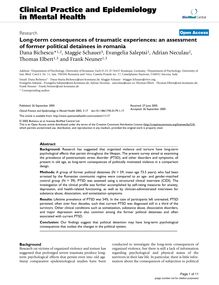 Long-term consequences of traumatic experiences: an assessment of former political detainees in romania