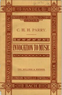 Partition Colour cover, Invocation to music, Parry, Charles Hubert Hastings