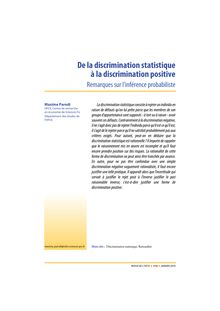 De la discrimination statistique à la discrimination positive