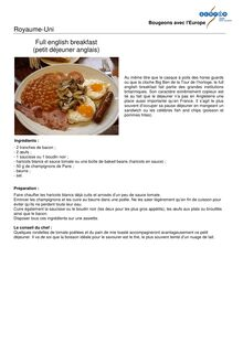 Full english breakfast - Apprendre la civilisation anglaise