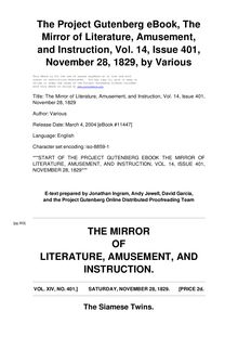 The Mirror of Literature, Amusement, and Instruction - Volume 14, No. 401, November 28, 1829