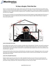 To Stop a Burglar, Think like One
