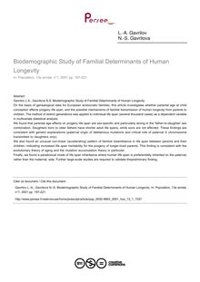 Biodemographic Study of Familial Determinants of Human Longevity - article ; n°1 ; vol.13, pg 197-221
