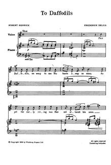 Partition , To Daffodils, Four Old anglais Lyrics, Delius, Frederick